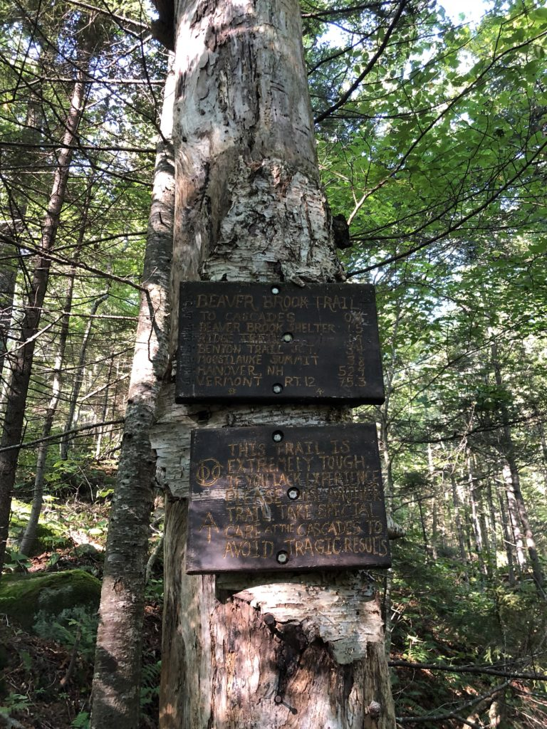 The infamous signage before ascending Moosilauke
